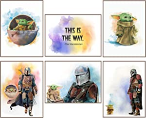 Baby Yoda The Child Mandalorian Prints - Set of 6 Posters - UNFRAMED - 8 x 10 inches - Wall Art Decor Photos - Star Wars TV Series