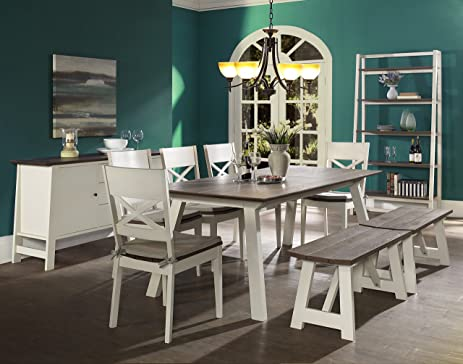 Milan 7 Piece Extension Dining Table Set For 6 (Cross Back Chairs U0026 Benches