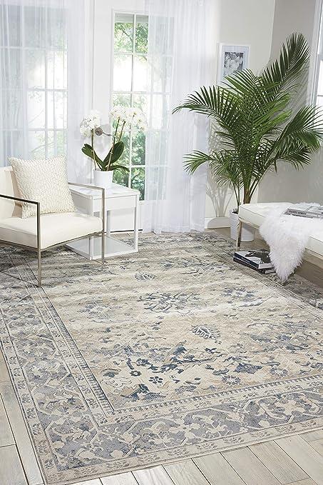 Kathy Ireland Worldwide Rustic Vintage Traditional Area Rug 3 11 X5 7 Ivory Blue Furniture Decor