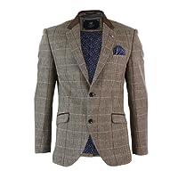 Mens Oak Brown Vintage Check Herringbone Tweed Blazer Jacket Or Waistcoat Retro