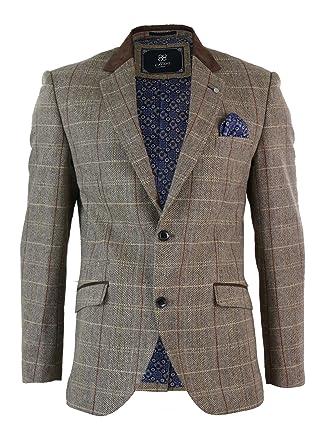 c7778088b3659 Cavani Veste Gilet Homme Style Tweed à Carreaux Marron Clair Beige Vintage  rétro