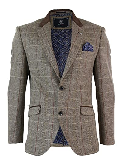 b94612d8c376 Mens Oak Brown Vintage Check Herringbone Tweed Blazer Jacket Or Waistcoat  Retro: Amazon.co.uk: Clothing