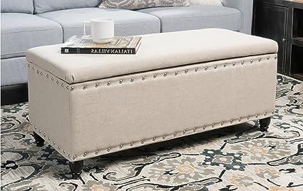 Amazoncom Storage Ottoman Bench Beige Nailhead Studded Fabric - Studded coffee table