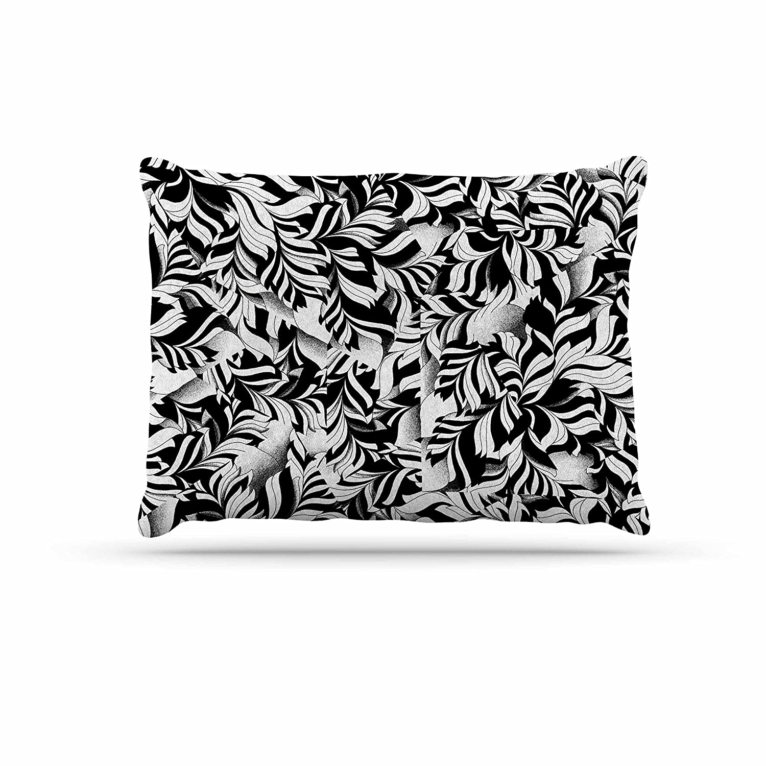 KESS InHouse Victoria Krupp Monochrome Leaves Mosaic Black Nature Dog Bed, 30  x 40