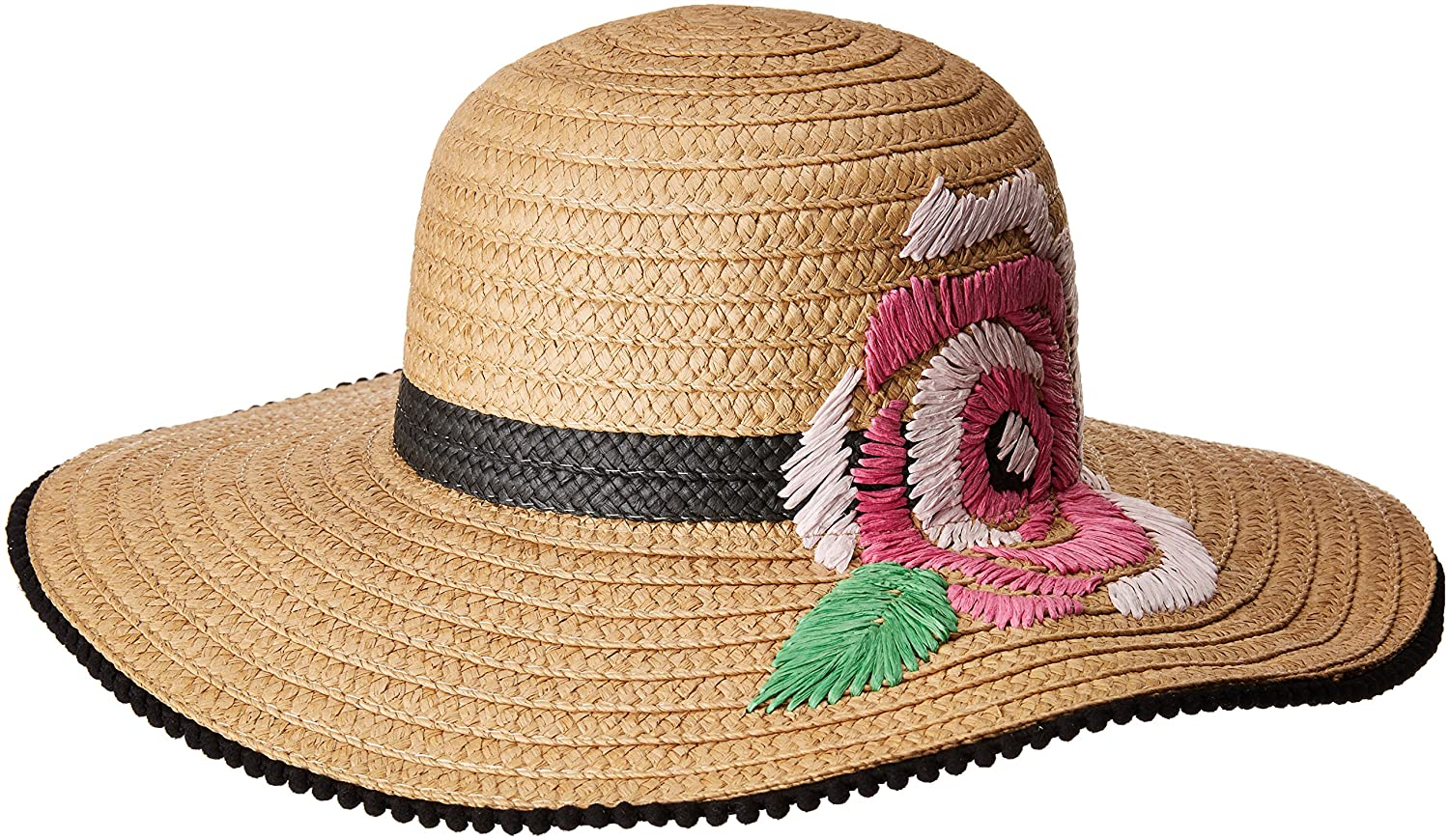 9848beb7a Betsey Johnson Women's Flowerista Floppy Hat, Tan, One Size at ...