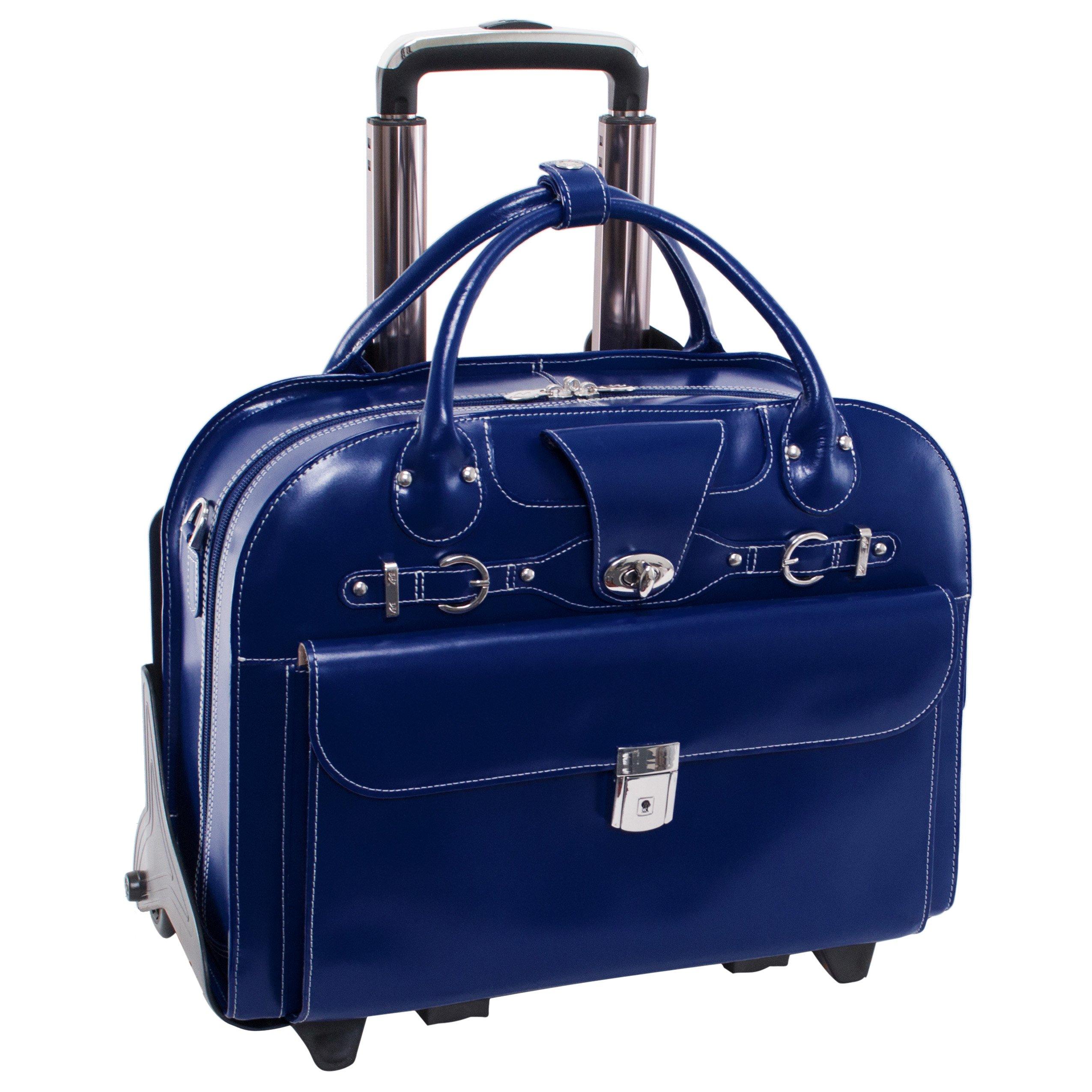 McKlein USA Roseville Navy 15.6'' Leather Fly, Friendly Detachable, Wheeled Ladies' Briefcase (96647) by McKleinUSA
