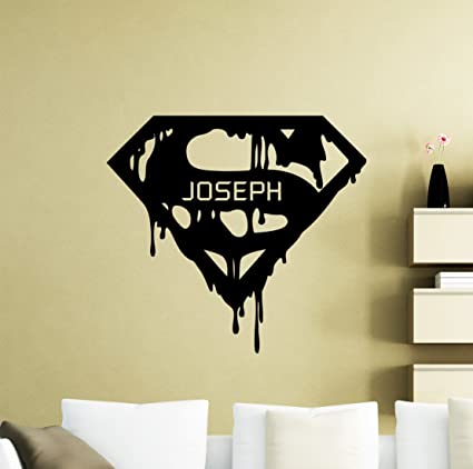 Personalized Superman Wall Decal Custom Name Superhero Vinyl Sticker  Superman Logo Home Personal Nursery Room Interior
