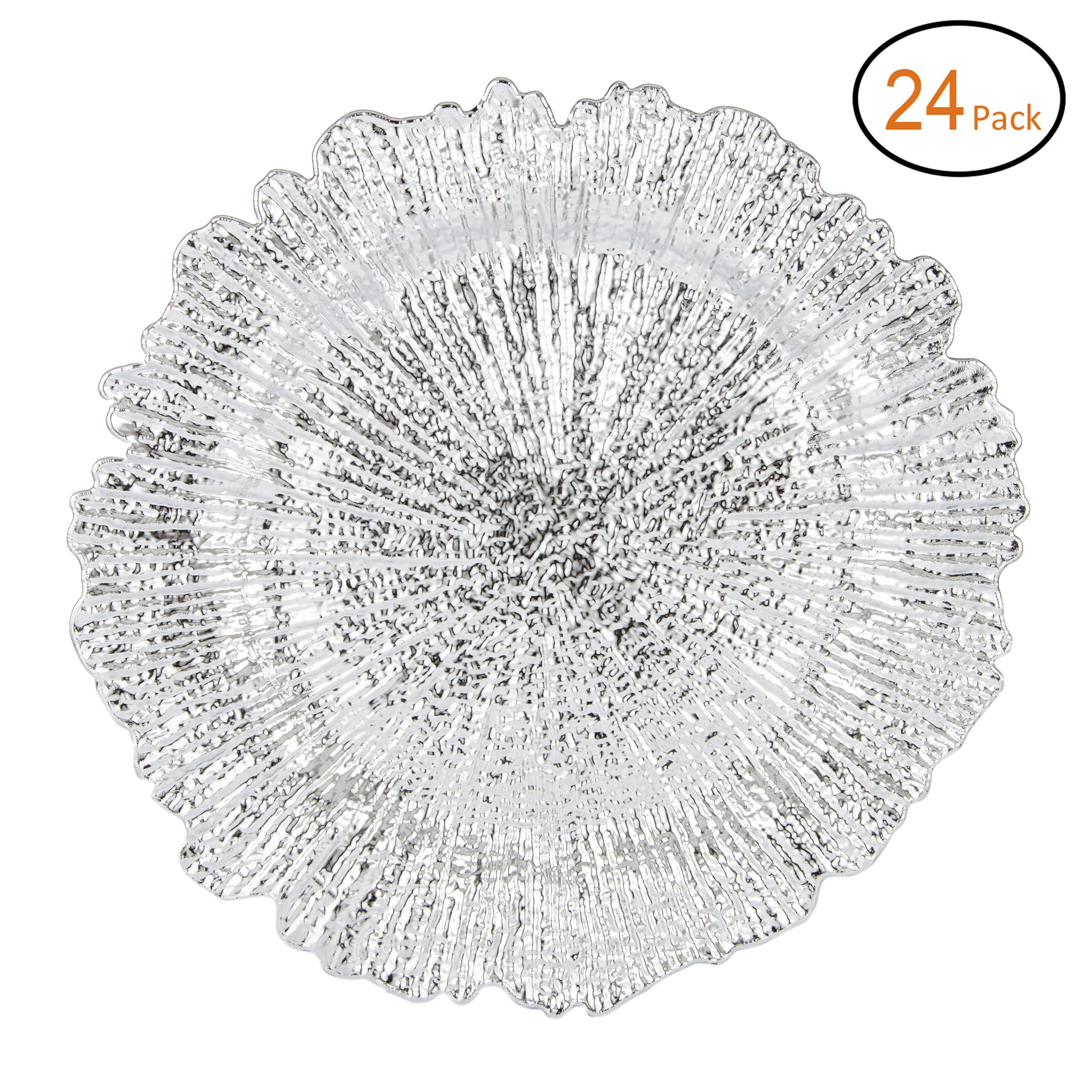 Fantastic:)™ Round 13''x13'' Charger Plates with Eletroplating Finish (24, Reef Silver)