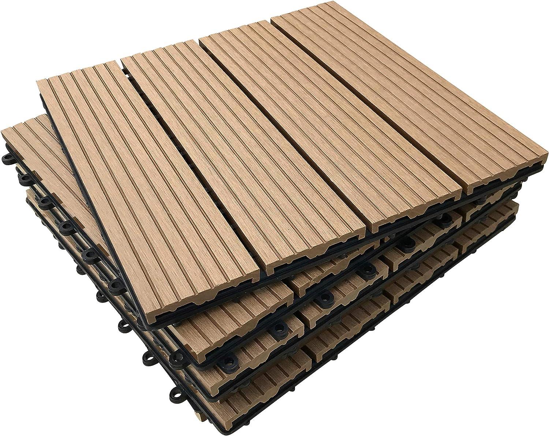 Click-deck - Baldosas de composite para patio, balcón, terraza, jacuzzi, juego de 6 unidades: Amazon.es: Bricolaje y herramientas