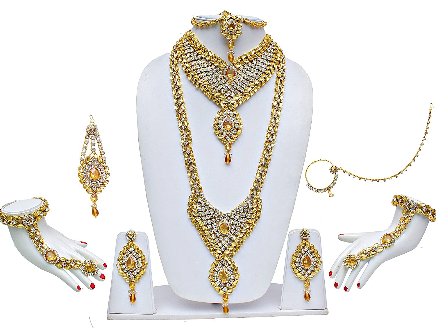 Buy Lucky Jewellery White Lct Kundan & Cz Stone 9Pc Bridal ...