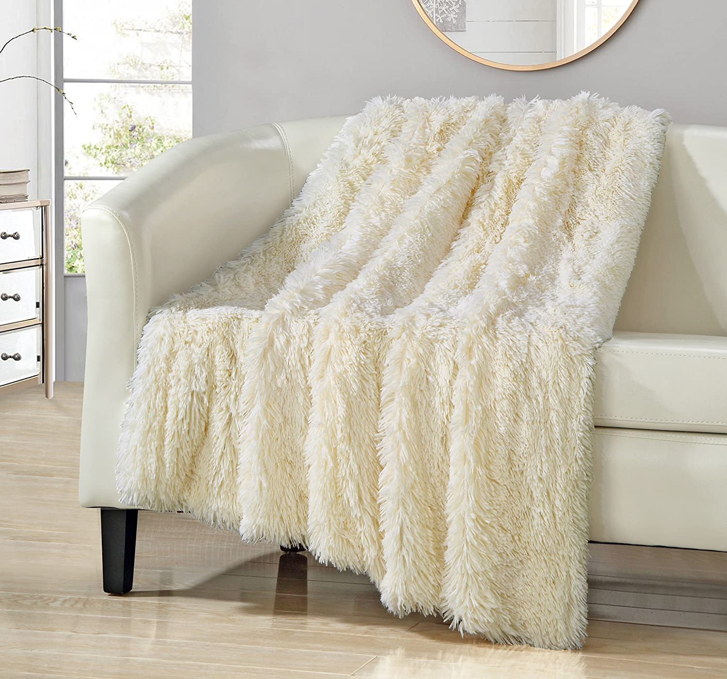 "Chic Home 1 Piece Anchorage Shaggy Faux Fur Supersoft Ultra Plush Decorative Throw Blanket 50 x 60"" White (50 x 60"", Beige)"