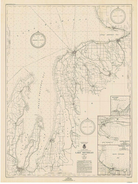 Amazon Com Grand Traverse Bay To Little Traverse Bay 1947 Lake