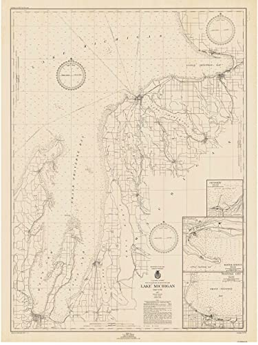 Amazon.com: Grand Traverse Bay to Little Traverse Bay - 1947 Lake ...