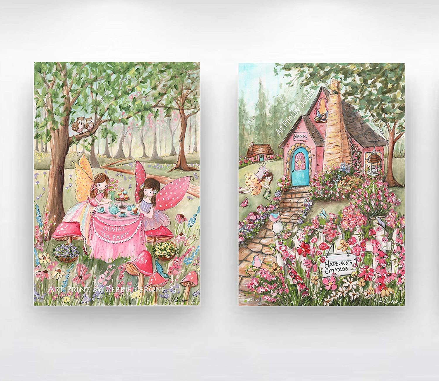Image of Girls Fairy Bedroom, Set Of 2 Thick Wrapped Canvases, Tea Party, Custom Girl's Name & Hair Color, Enchanted Forest Cottage Home and Kitchen