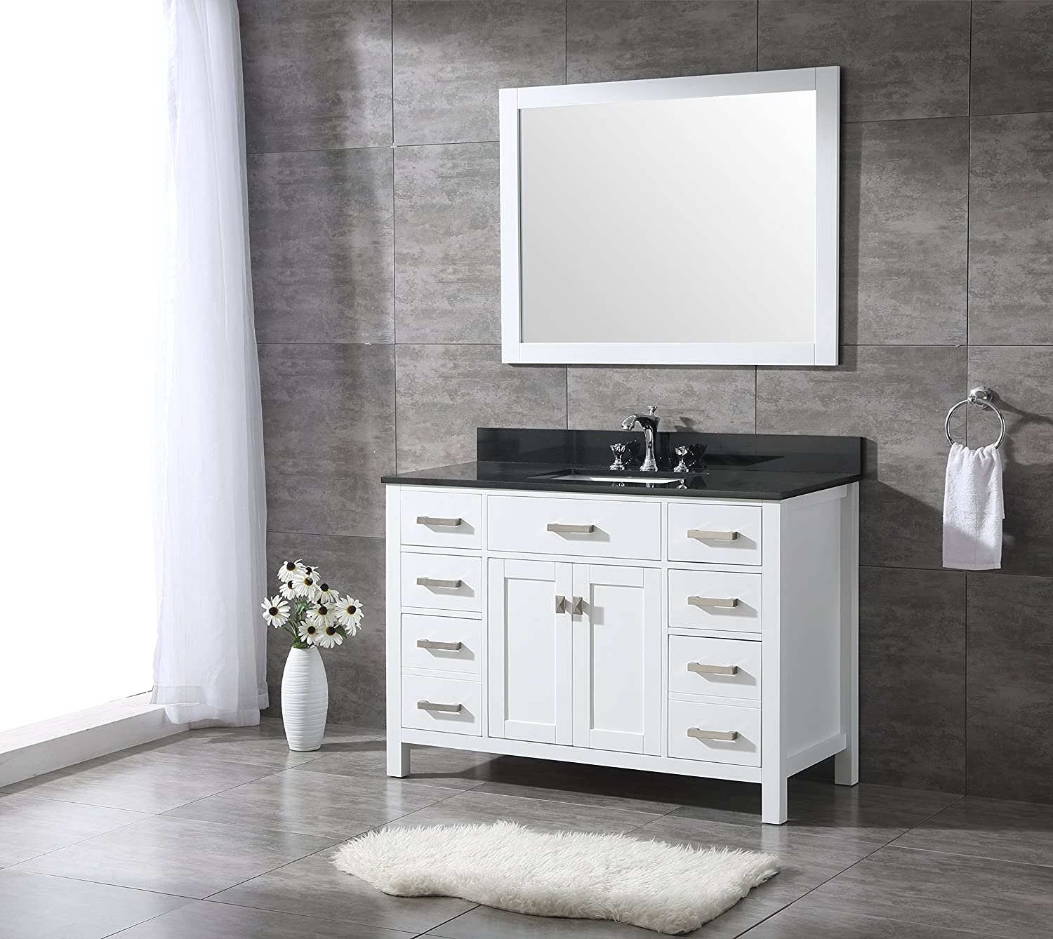 All-Wood Diamond White Shaker Vanity – Complete 48-inch, Black Granite Top