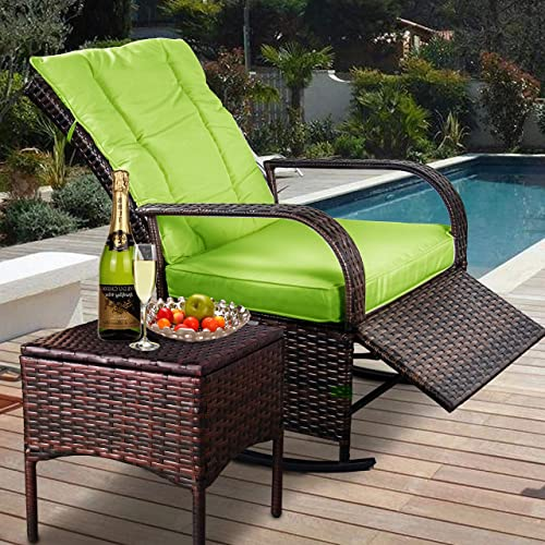 Indoor Outdoor Reclining Chair-Porch Garden Lawn Deck Wicker Rocke Chair-Auto Adjustable Rattan Sofa w/Cushion Green Cushion