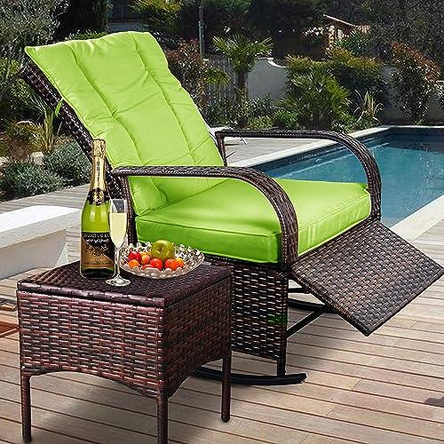 Indoor Outdoor Reclining Chair-Porch Garden Lawn Deck Wicker Rocke Chair-Auto Adjustable Rattan Sofa w/Cushion Green Cushion