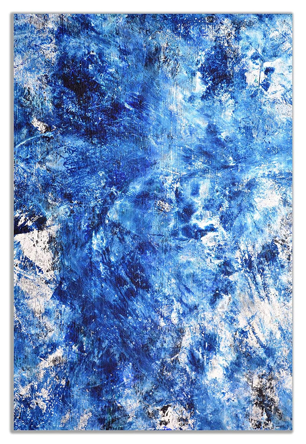 Blue White Abstract Art Painting Canvas Wall Art Picture Print 12x8