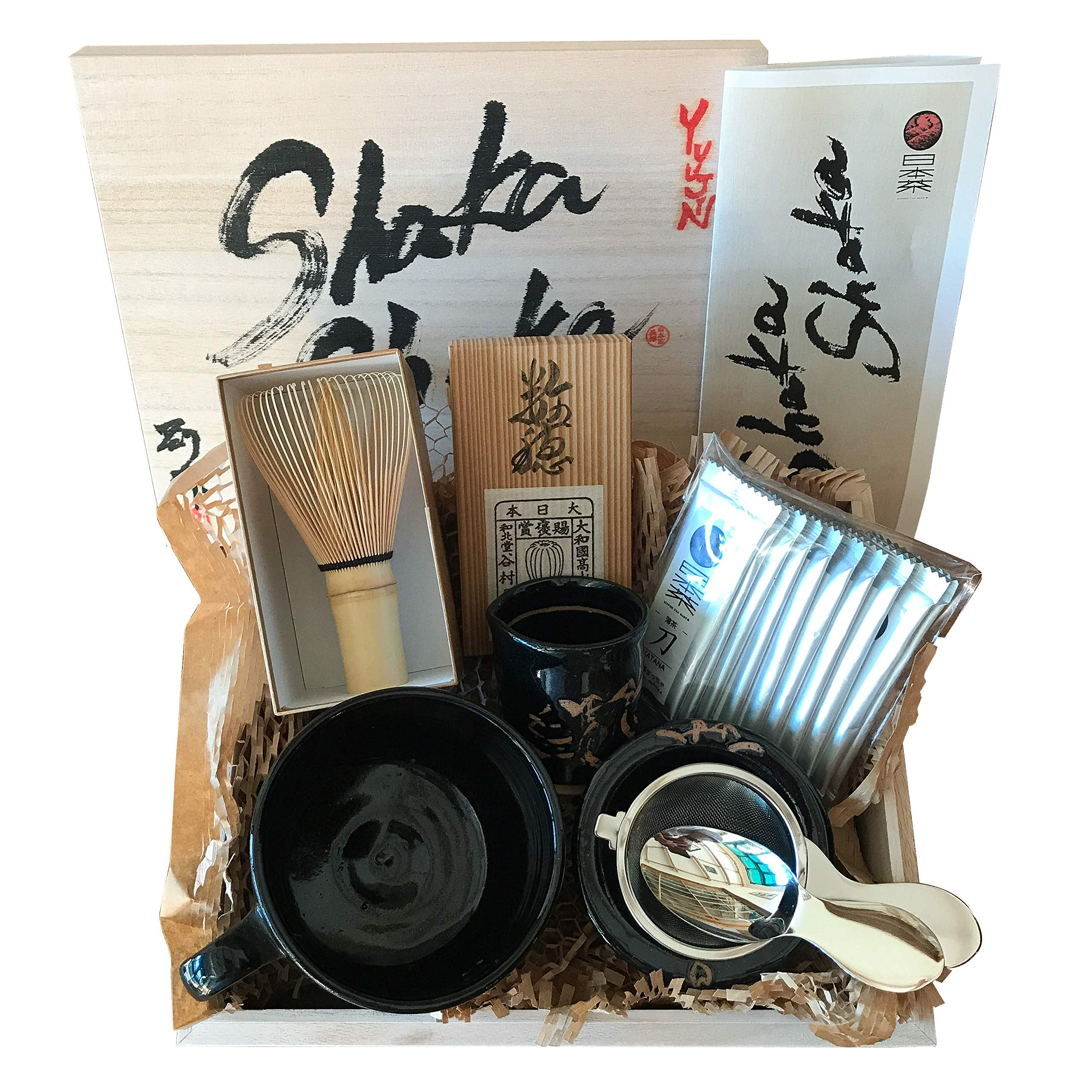 Nippon Cha - Shaka Shaka Set - Premium Matcha Set - Ceremonial Grade Matcha Powder - Japanese Handcrafted Matcha Bowl - Bamboo Whisk - Stainless Steel Spoon & Strainer - Made In Japan(Black)