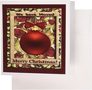 3dRose Red Ornament, Merry Christmas, We have moved - Greeting Cards, 6 x 6 inches, set of 12 (gc_34240_2)