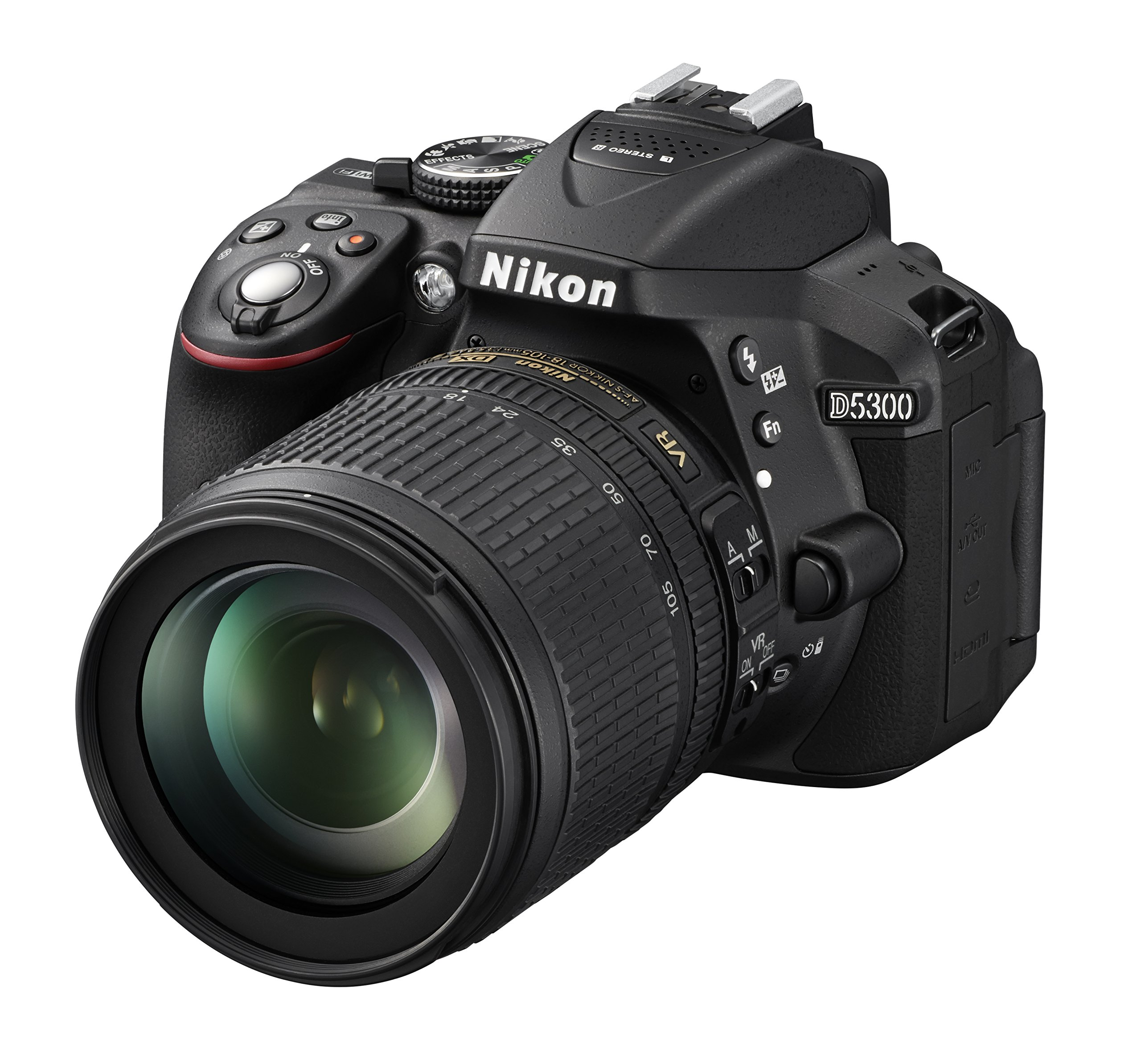 "Nikon D5300 Fotocamera Digitale Reflex + Nikkor 18/105VR, 24.1 Mbps, LCD HD da 3"" Regolabile, SD da 8GB, 200x Premium Lexar, Nero [Nital Card: 4 Anni di Garanzia] product image"