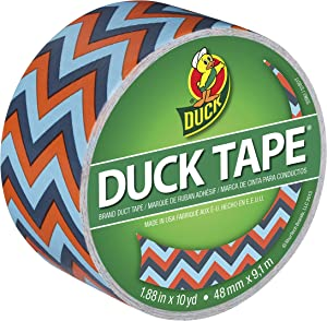 Duck Brand 283044 Printed Duct Tape, Blue Chevron, 1.88 Inches x 10 Yards, Single Roll