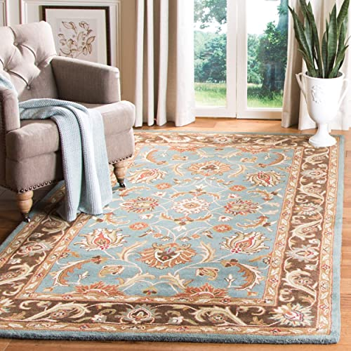 Safavieh Heritage Collection HG812B Handcrafted Traditional Oriental Blue and Brown Wool Area Rug 6 x 9