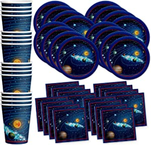Solar System Outer Space Birthday Party Supplies Set Plates Napkins Cups Tableware Kit for 16