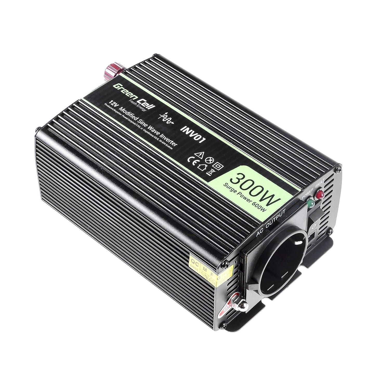 Green Cell/® Inversor de Corriente 500W Power Inverter DC 12V AC 230V Transformador de voltaje para Coche onda sinusoidal modificada con Puerto USB y auto Pinzas de conexi/ón a bater/ía
