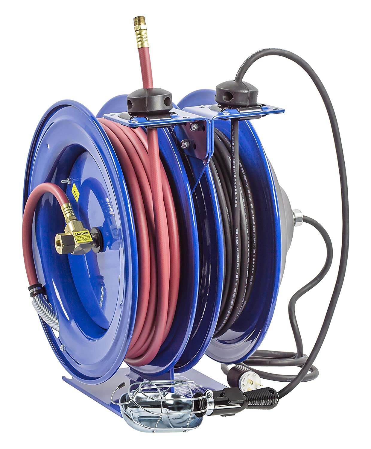 Coxreels C-L350-5016-A Dual Purpose Electric//Air Spring Rewind Reels: 50 3//8 I.D 16 AWG 300 PSI Single Industrial Receptacle Hose 50 Cord