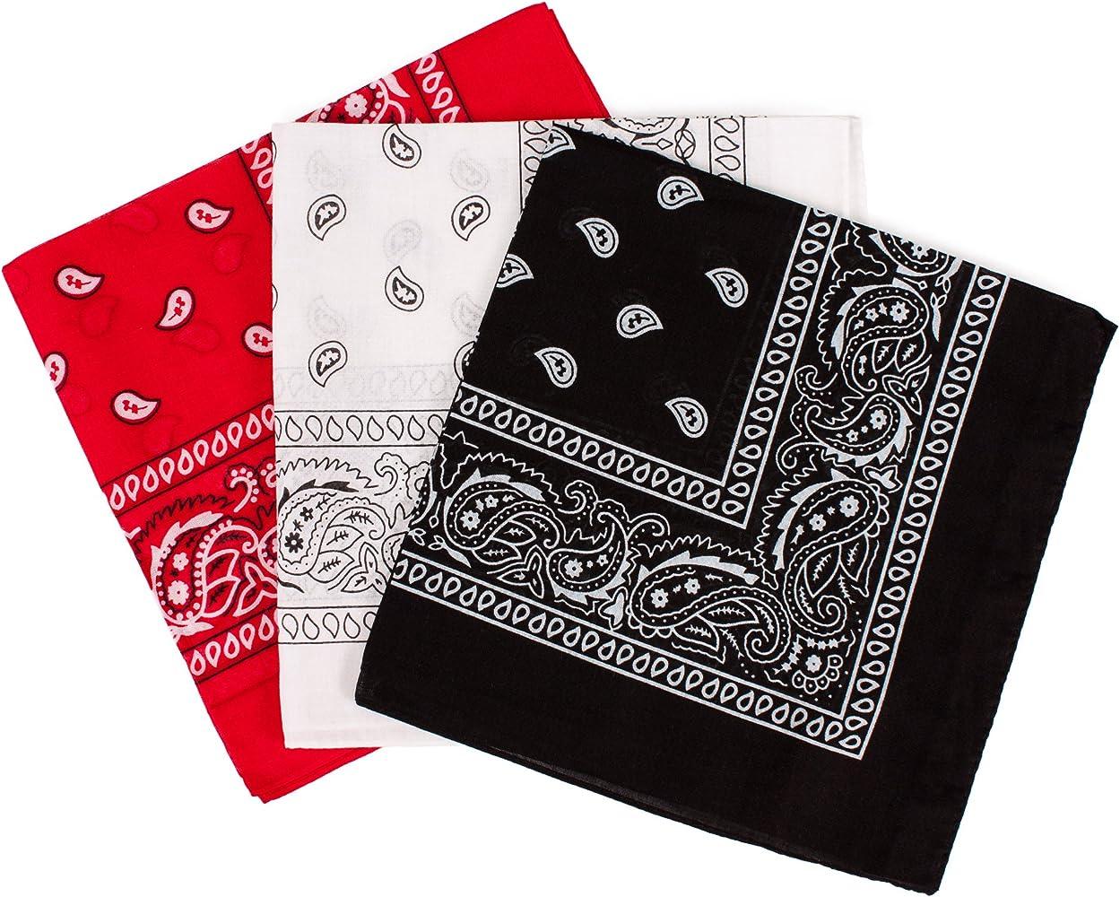 Juego de pañuelos, diseño clásico de cachemira, color negro, rojo ...