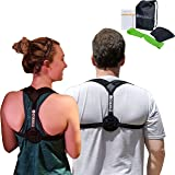 Comfortable Posture Corrector - Medium/Large size - for Women & Men - Adjustable Back & Shoulders Support Brace to Improve Posture - Included Extra Padding - Workout Band & Carrying Bag