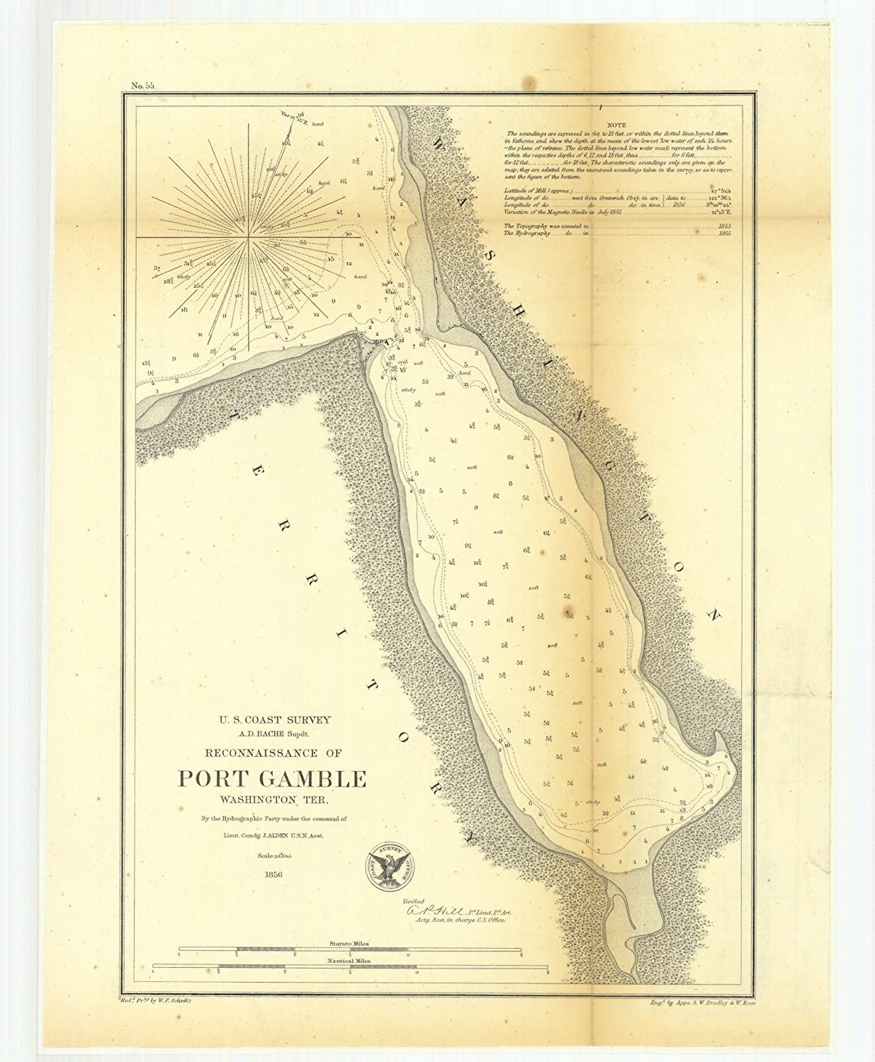 Port Gamble Washington Map.Amazon Com Vintography 18 X 24 Canvas 1856 Washington Old Nautical
