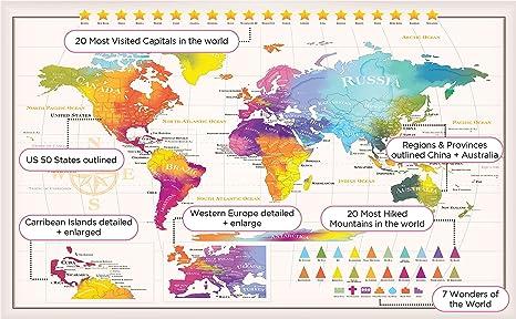 Amazon.com: World Traveler Scratch Off Map - Extra Large Size - 50 ...