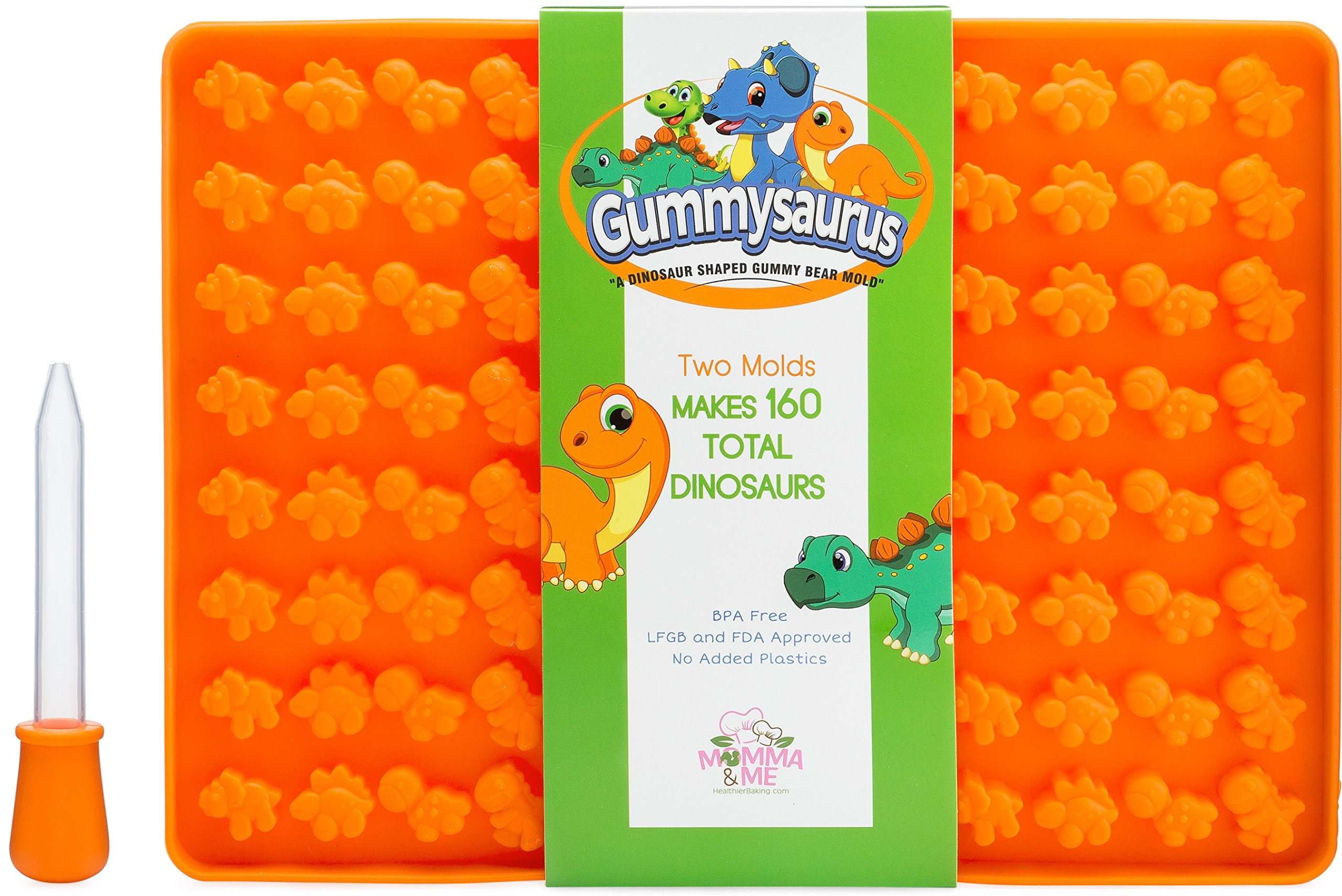 Gummysaurus Dinosaur-Shaped Gummies Mold Gummie Gummy Bear Mold (2-Pack) Giant, Non-Stick Silicone Tray | Creates 160 Sweet Snacks | Triceratops, T-Rex, Stegosaurus, Brontosaurus | Kid Friendly
