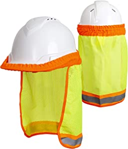 Hard Hat Neck Sun Shade (2 Pack) - Reflective Stripe - High Visibility and Elastic for Safety Hard Hat Helmets One Size Fits All - Yellow