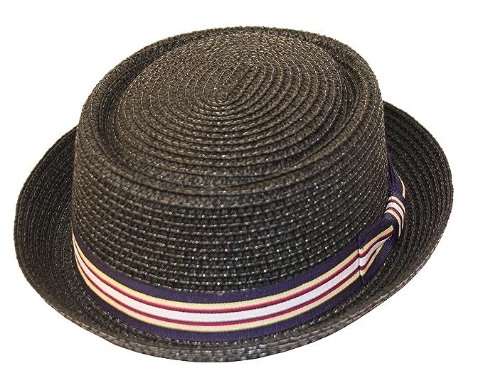 b66172c2fce Men s Fancy Summer Straw Pork Pie Derby Fedora Upturn Brim Hat  (Small-Medium