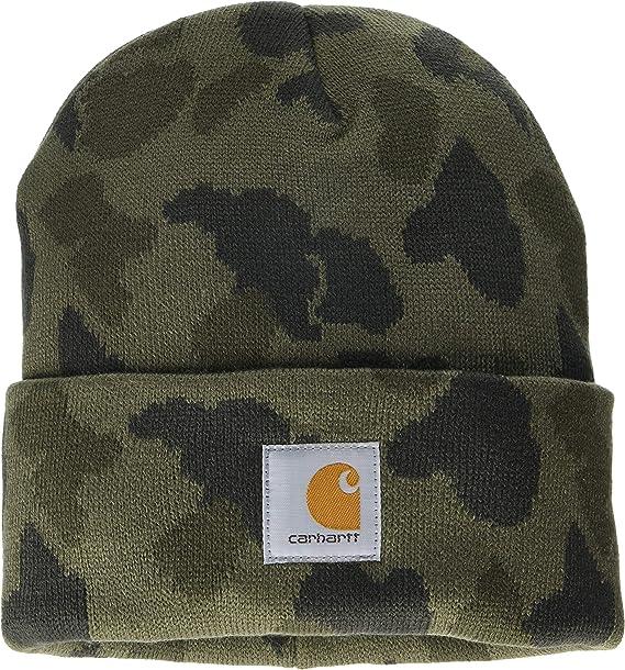 Black CHA164BLK Mens Beanie with peak Hat Carhartt Winter Hat with Visor