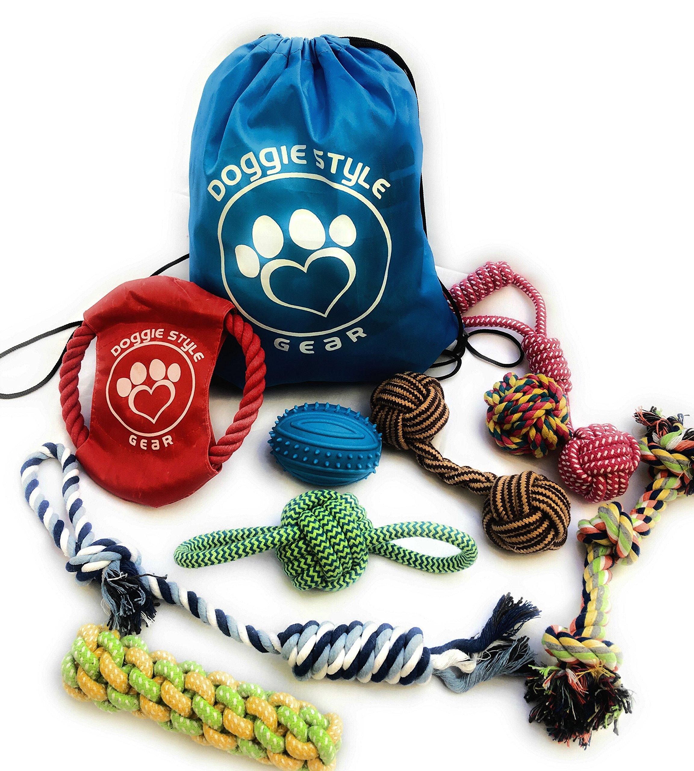 Dog Pet Rope Toys ◘ Tug-Of-War Playtime, 10 pcs Includes Storage Bag
