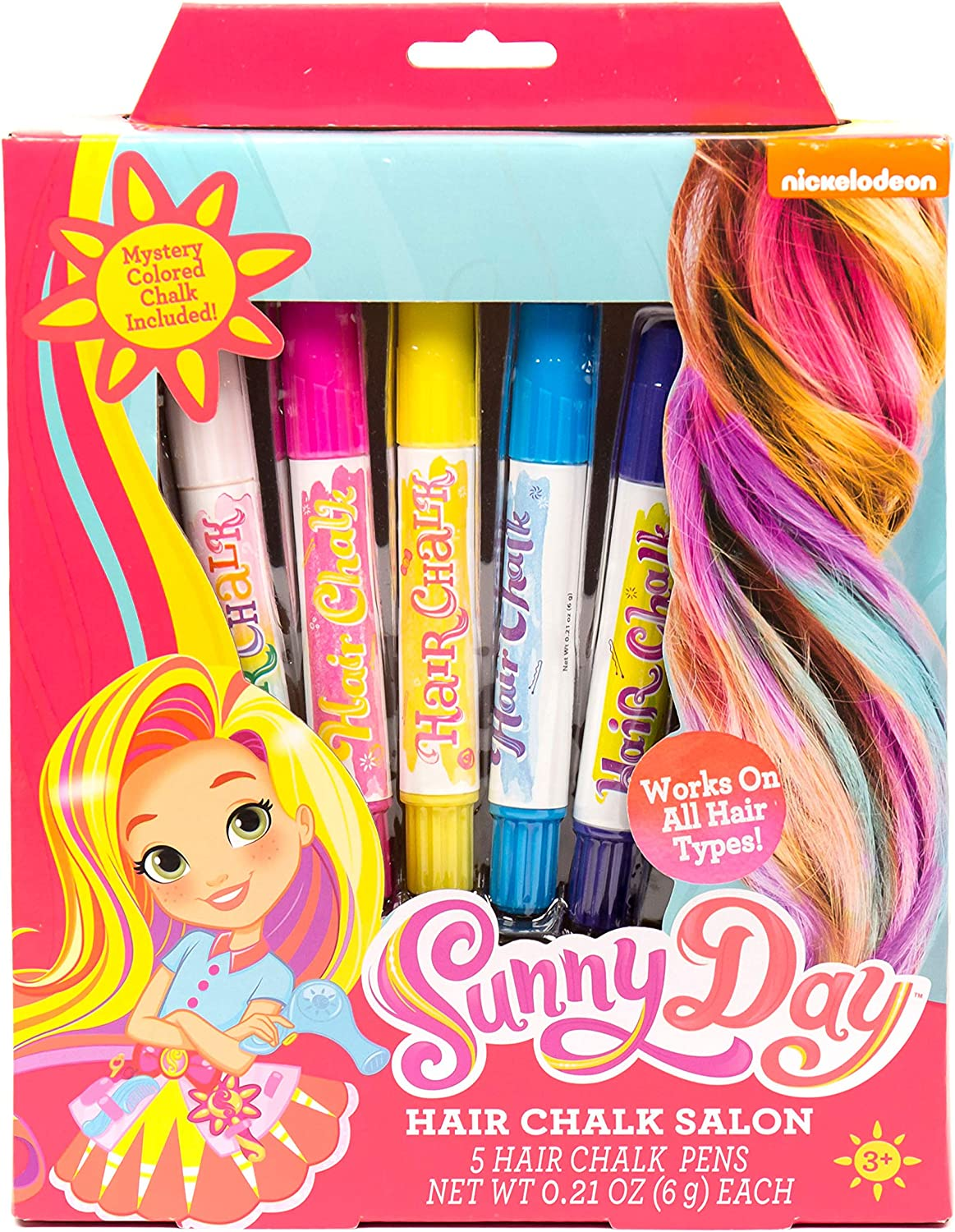 Sunny Day Hair Chalk Salon by Horizon Group USA, 5 Colorful Hairchalk Pens
