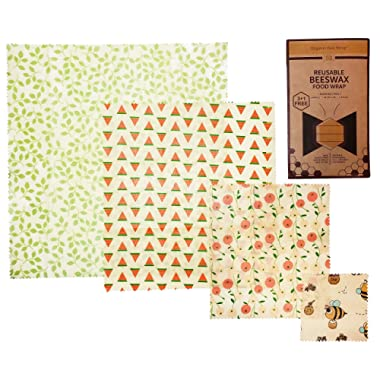 Reusable Beeswax Food Wrap by Organic Bee Wrap 4 Pack - 1 Extra Small, 1 Small, 1 Medium, 1 Large Beeswax Food Wraps – Eco Friendly Reusable Food Wraps - Alternative to Plastic & Biodegradable