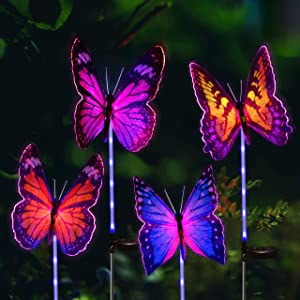 Joiedomi Butterfly Multi-Color Changing LED Solar Yard Garden Stake Lights (Multi-Color) 4 Pack, Pathway Outdoor Stake Lights, Waterproof for Walkway, Pathway, Yard, Lawn, Patio or Courtyard