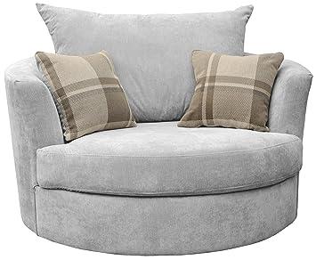 Large Swivel Round Cuddle Chair Fabric Light Grey Amazon Co Uk