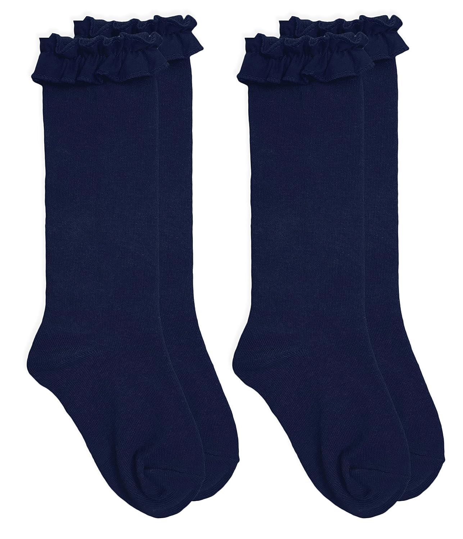 Jefferies Socks Girls School Uniform Ruffle Knee High Socks 2 Pair Pack