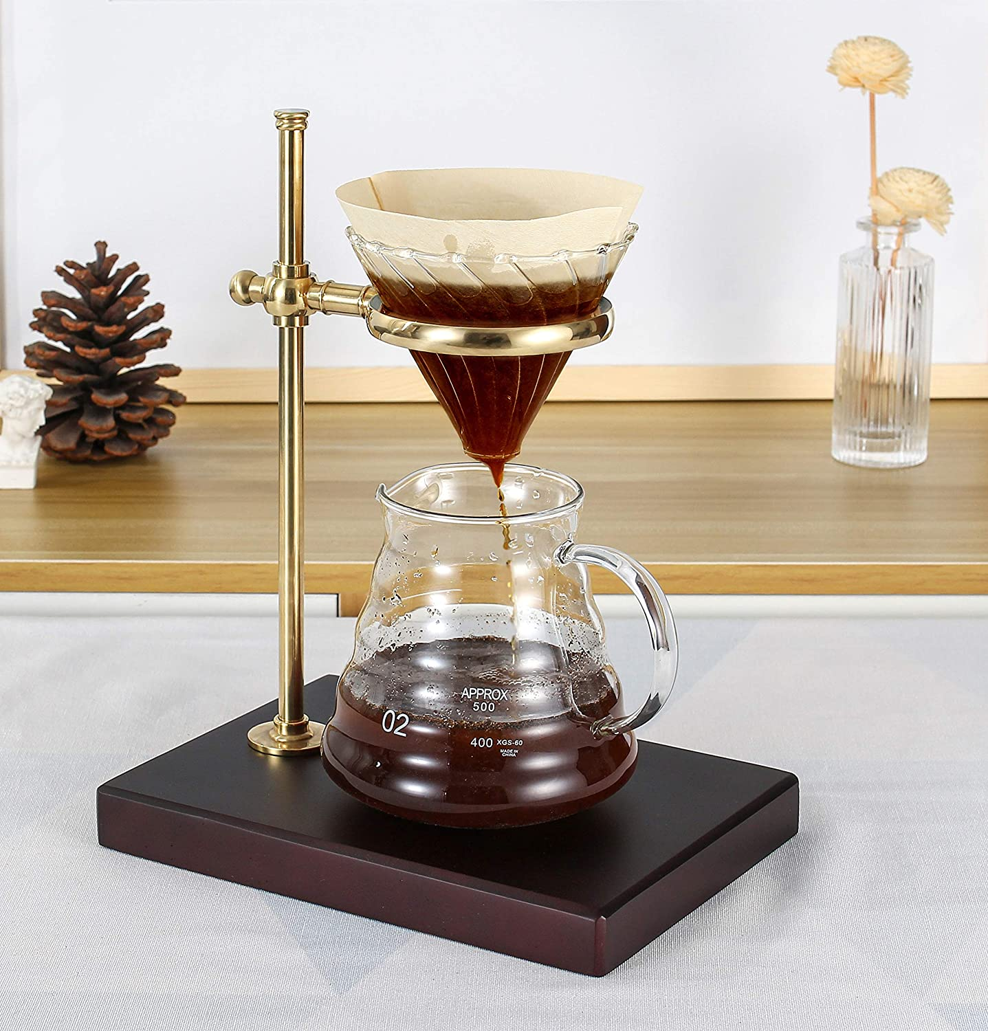 Cafefuji Brass Pour Over Coffee Dripper Produces Flavorful Cups of Cafe Quality Coffee with Wood Base Stand Wonderful Presents for Coffee Connoisseurs Coffee Lovers for Best Coffee Experience