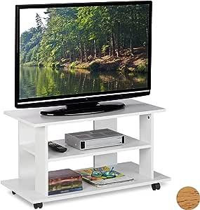 Relaxdays Mueble TV Ruedas con 2 Compartimentos, Mesa Televisión, 45 x 80 x 40 cm, Blanco: Amazon.es: Juguetes y juegos
