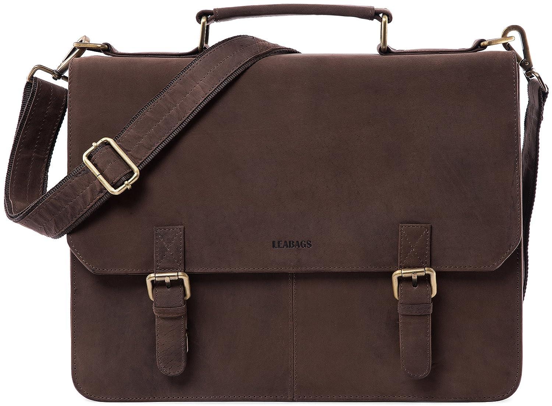 LEABAGS Gainsville – Herren-Aktentasche aus Echtem Leder für Büro, Studium und Freizeit – Braun