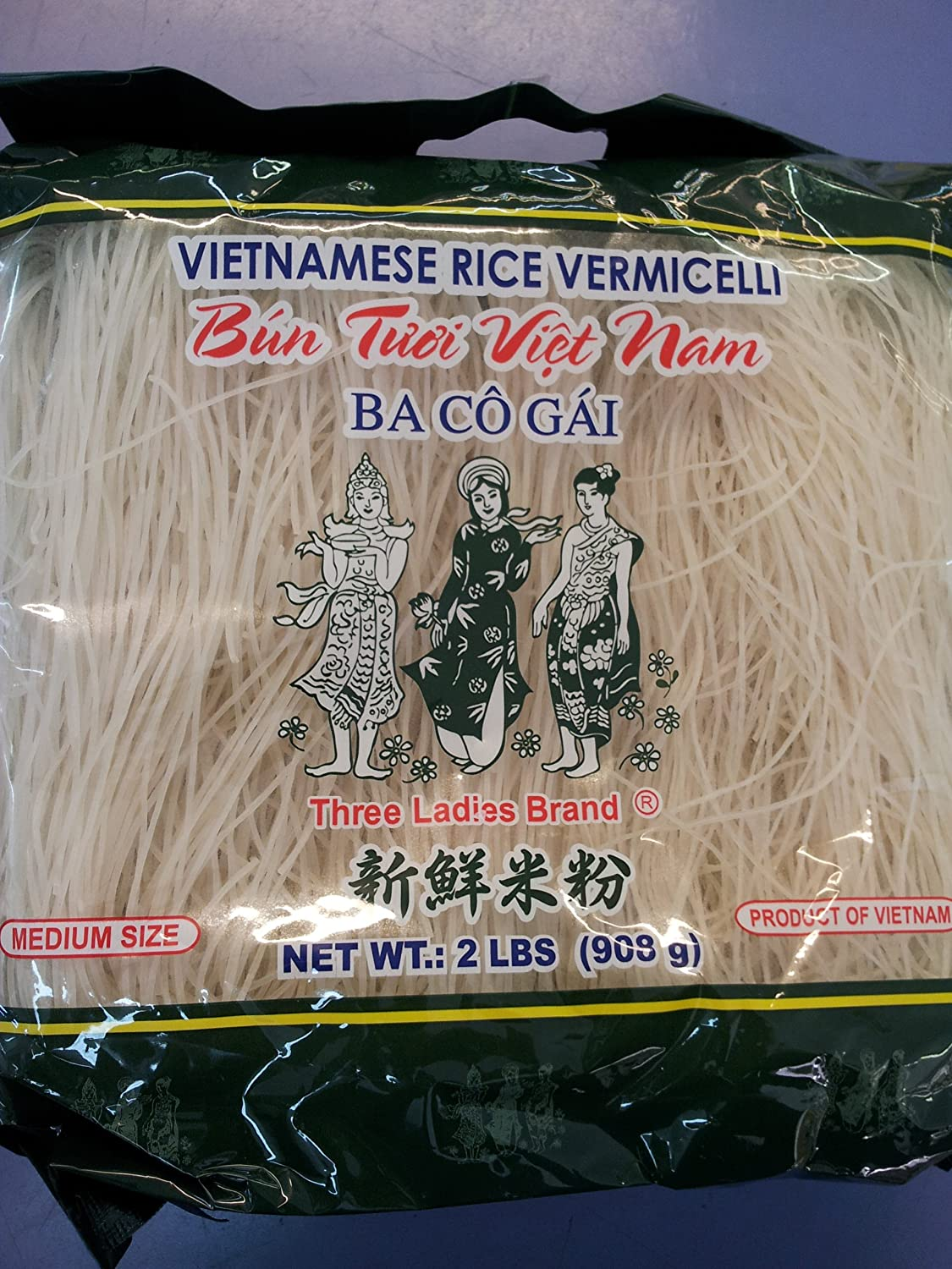 Amazon : Vietnamese Rice Stick(vermicelli) Three Ladies Brand 2lbs :  Asian Noodles : Grocery & Gourmet Food