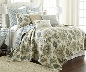 Levtex Palladium Grey Full/Queen Cotton Quilt Set Cream, Grey, Green/Blue,