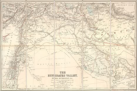 Amazon.com : 24x36 Poster; Map Of Euphrates River Valley Israel Iraq ...